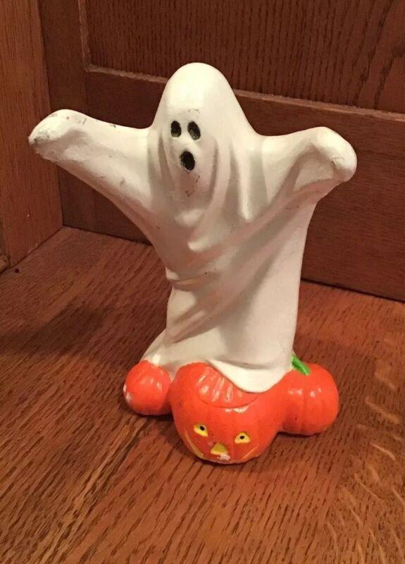 Vintage Ceramic Halloween Ghost With Jack-o-lantern 🎃 Pumpkin  Hand Painted