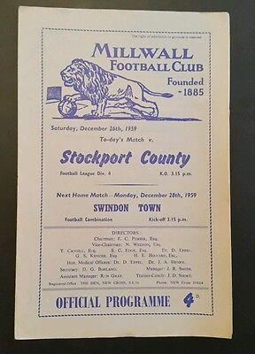 Millwall v Stockport County Programme 26/12/59