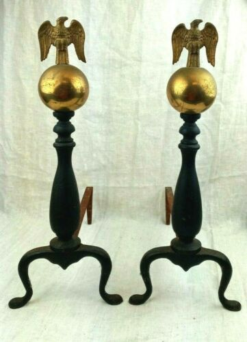 """Vintage Iron and Brass Eagle Andirons Firedogs 18.5"""" Made in Japan"""