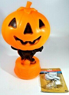 "Vintage 14"" blow mold Pumpkin on a black cat on a base with dancing skeletons"