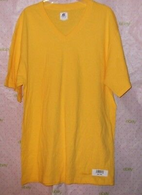 NEW $30 RUSSELL ATHELTIC MEDIUM  YELLOW RIB TRIM TEE SHIRT V TOP Russell Athletic Ribbed T-shirt