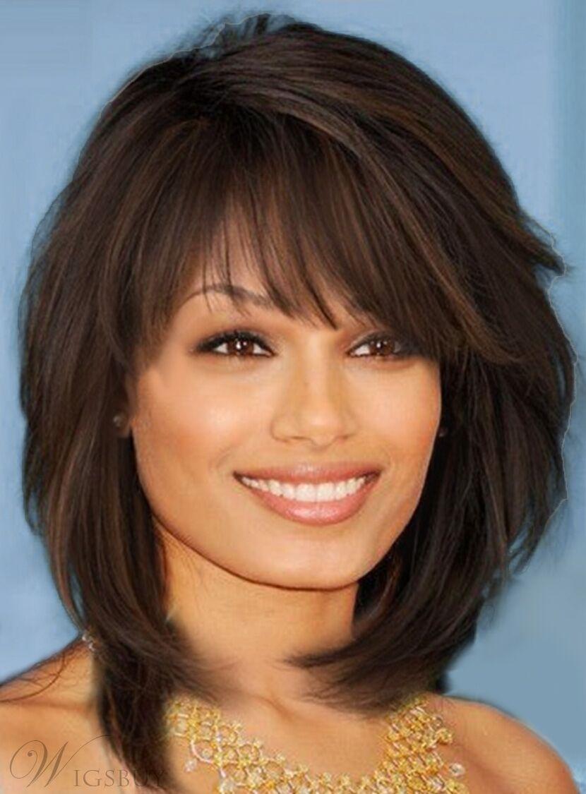 100% Human Hair!Sweet Layered Bob Hairstyle Medium Brown Straight Capless  Wigs | eBay