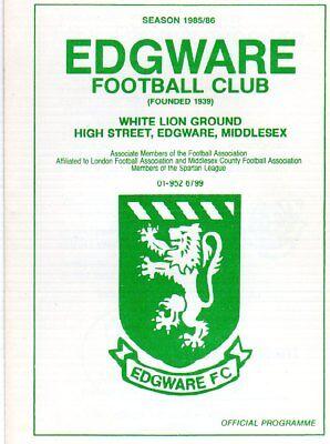 EDGWARE  V  BECKTON UTD 5/2/1986 london sparton league PROGRAMME