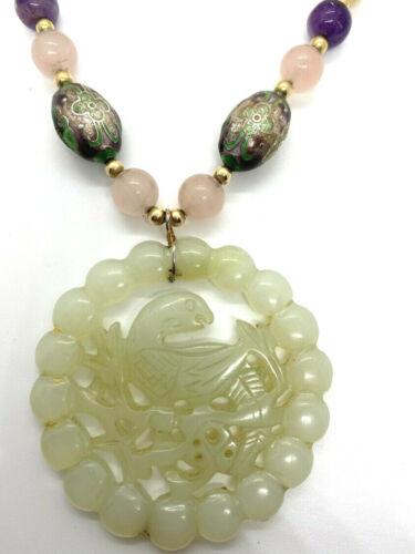 Jade Medallion Necklace Cloisonne and Quartz Bead Strand