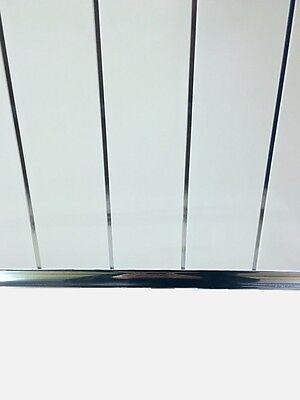 Gloss White Chrome Strip Bathroom Cladding Ceiling Panels PVC Shower Wet Wall