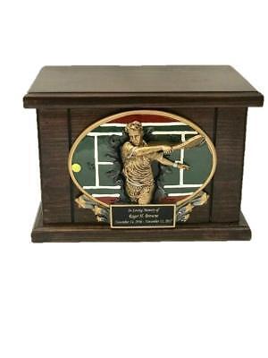 Tennis Cremation Urn, Wood Urn, Tennis Funeral Urn, Wooden Funeral Urn w/engravi