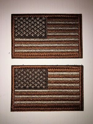 Tactical USA Flag Patch American Flag Badge Brown Tan  (Lot of 2) New