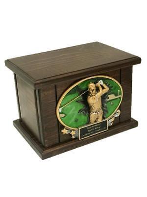 Golf Cremation Urn, Wood Urn, Golfer Urn, Wooden Funeral Urn, Sports w/engraving