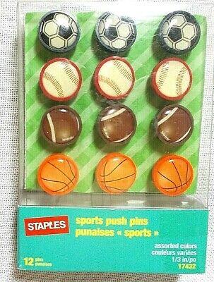 Staples Sports Push Pins Baseball Football Basketball Soccer Pack Of 12