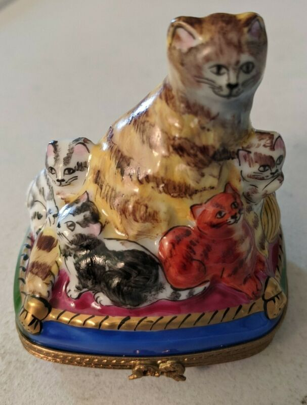 New French Limoges Trinket mother Cat w kittens on blue cushion
