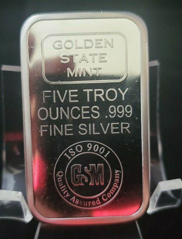 5 oz Golden State Mint .999 Silver Bar. Brand new from tube. In 4 mm plastic bag