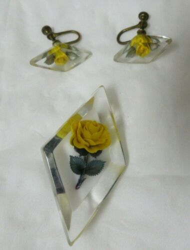 Vintage Clear Lucite Encased Yellow Rose Brooch & Matching Screw Back Earrings