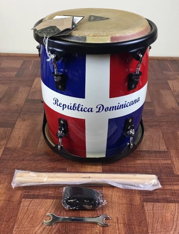 Professional Tambora With Dominican Republic Flag Design, Sticks & Strap.