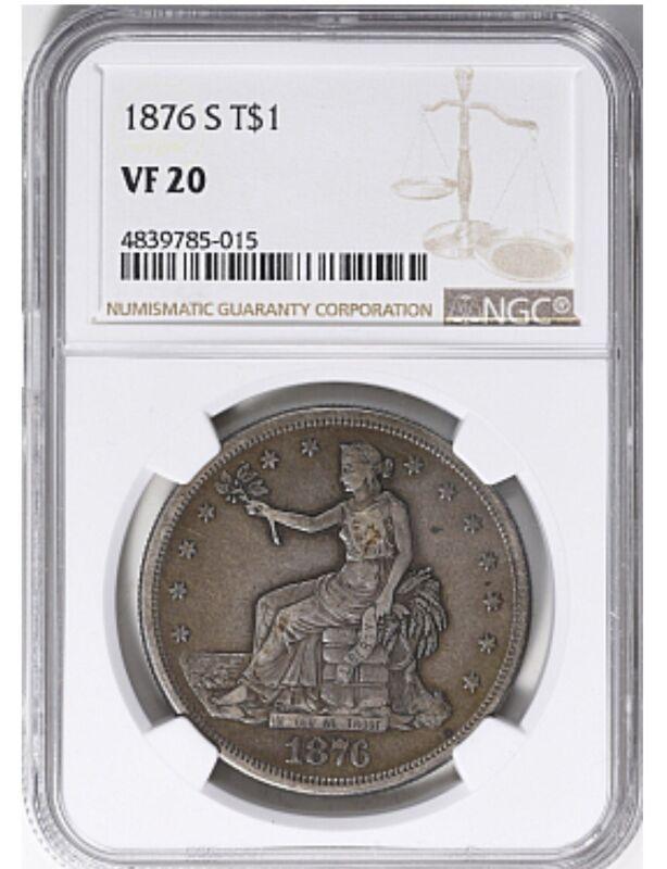 1876-S Trade Silver Dollar NGC VF-20