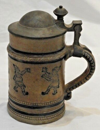 Antique German Salt Glazed Stoneware Blue Incised Figures Lidded Cup or Stein