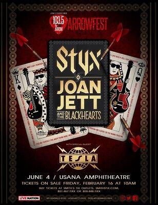 STYX /JOAN JETT & THE BLACKHEARTS /TESLA 2018 SALT LAKE CONCERT TOUR POSTER-Rock