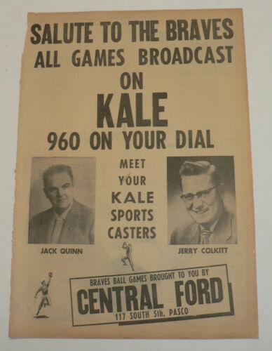 1956 KALE Sports Radio, Full Page Original Newpaper Ad, Tri-City Braves