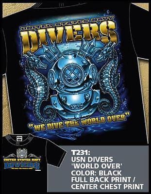 US NAVY Diver T-Shirt USN Scuba Snorkel UDT Hard Hat DIVERS Dive Gear SEAL's DV  - Hat T Shirt