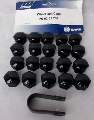 Saab Black Plastic Wheel Lug Nut Covers Set of 20 + Removal Tool Factory OE
