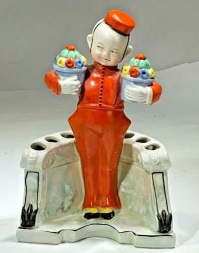 Art Deco Germany Porcelain  Bell Hop Boy Toothbrush Holder