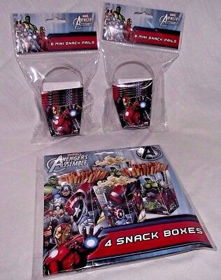 Avengers Birthday Party Snack Pails Boxes Captain America Ironman Hulk Lot Treat (Avengers Party Boxes)