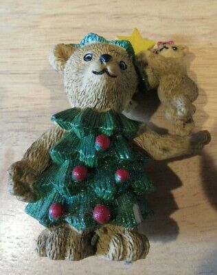 Claire's Bear 1997 Dressed in a Christmas tree with baby bear adding the Star