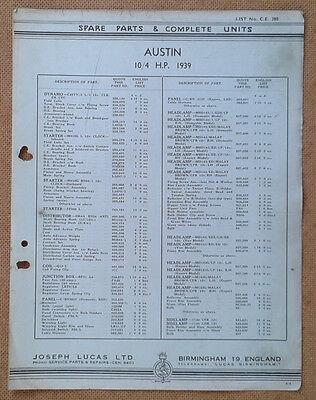 Austin 10/4 hp  1939  Lucas Parts List 390  Others available