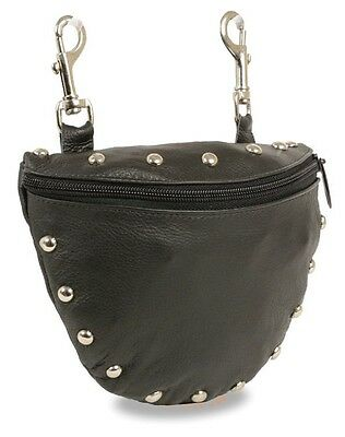 Ladies Studded Leather  Purse Handbag Motorcycle Biker Clip On Pouch Bag 7.5x6 Bike Handbag Bag Purse