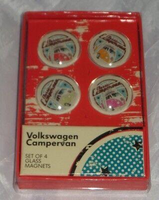 Volkswagen Campervan Glass Magnets set of 4 Official VW NEW