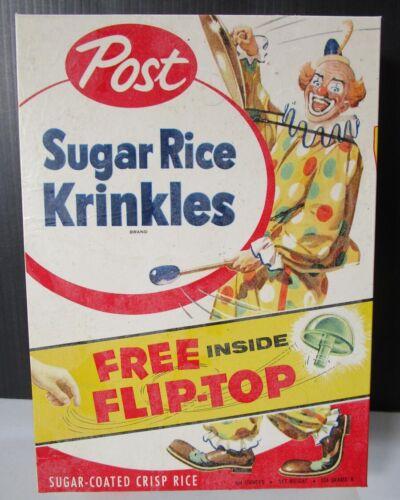 1956 Sugar Rice Krinkles Cereal Box Clown Original Wax Wrapper over box Flip Top