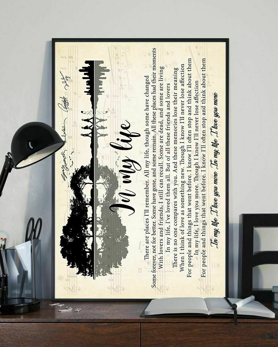Design Guitar Members Walk In My Life By The Beatles Lyrics Poster No Framed  - $17.99