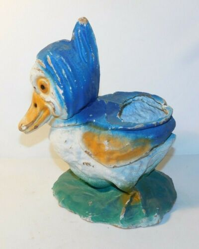 RARE old Paper Mache Easter Duck Candy Container Bucket