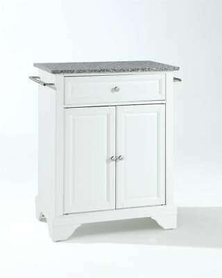 Crosley LaFayette Solid Granite Top Portable Kitchen Island in White KF30023BWH