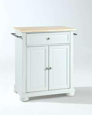 Crosley Alexandria Natural Wood Top Portable Kitchen Island in White KF30021AWH