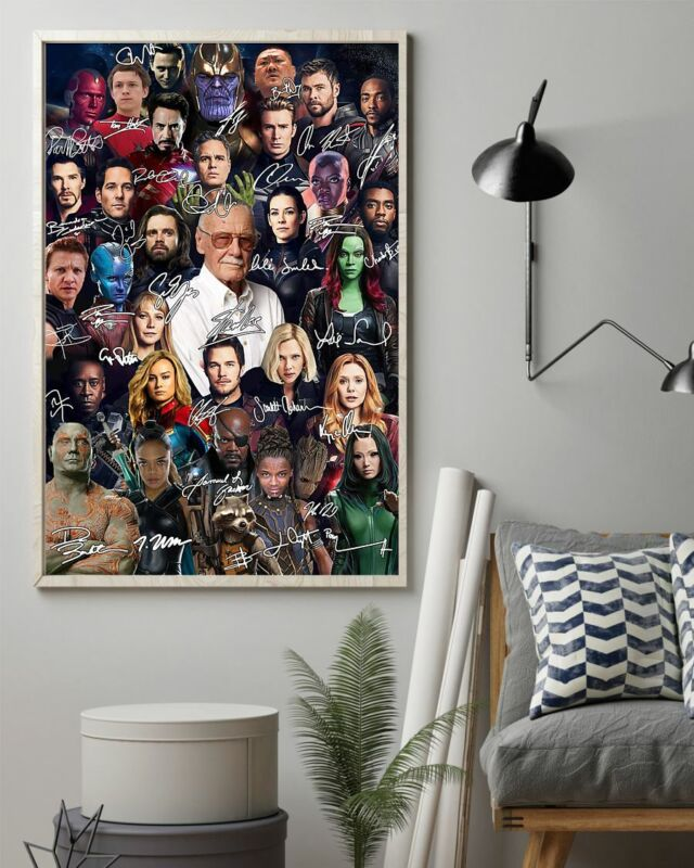 Stan Lee and Avengers Team Satin Portrait Poster No Frame/Canvas 0.75in