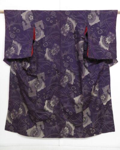 1019i06z780 Vintage Japanese Kimono Silk OMESHI KOMON Dark purple Flowers