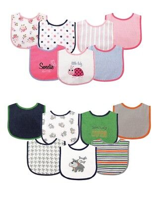 LUVABLE FRIENDS BABY BOYS GIRLS 7 PIECE DROOLER BIBS WITH WATERPROOF BACKING