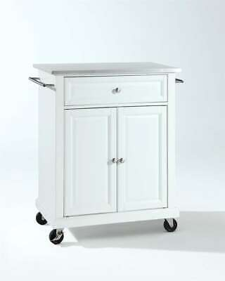 Crosley Stainless Steel Top Portable Kitchen Cart/Island in White - KF30022EWH