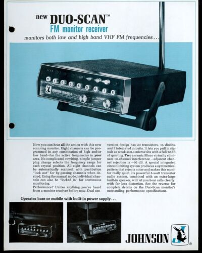 Vintage JOHNSON Duo-Scan FM Monitor Receiver Print Ad Sales Spec Sheet