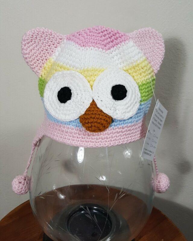 Handmade Knit Baby Beanie 100% cotton owl 0-6 months