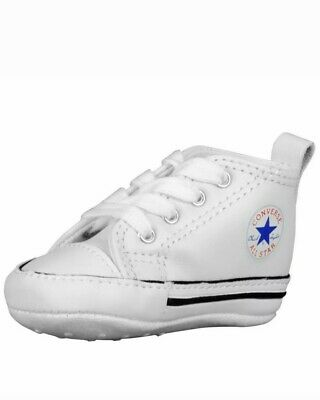 CONVERSE NEWBORN CRIB WHITE LEATHER FIRST ALL STAR BABY SHOES SIZE 4