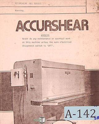 Accurshear 8500 8250 8375 Series Shear Operation Parts Electric Manual 1979