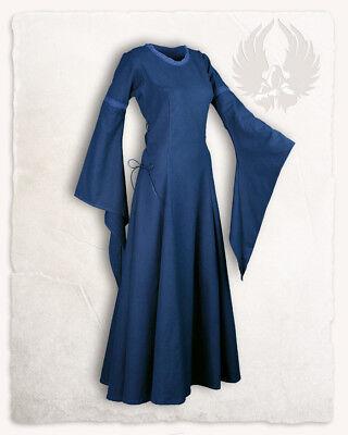 (2-AC0105 mitte L)Lenora Kleid Premium Baumwolle blau XXLLARP Mittelalter