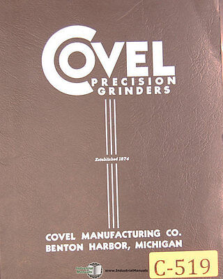 Covel No. 5 Surface Grinder Operations Assembly Parts And Wiring Manual 1945