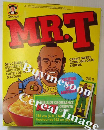 Mr T Cereal Box RARE original Canadian Variant 1984 Quaker growth chart