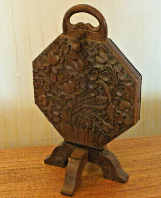 Vintage Antique Wooden Vintage Folding Cake Stand 3 plates Beautifully carved