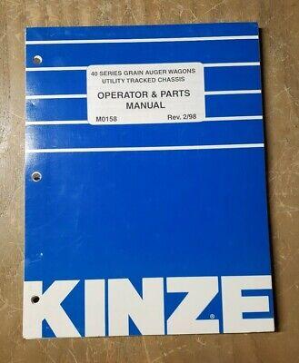 Kinze Operator Parts Manual M0158 40 Series Grain Auger Wagons 298 1j-3088-m2