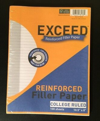 Exceed Reinforced Filler Paper College Ruled 100 Sheets 10.5 X 8 Lot Of 3