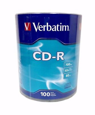 100 VERBATIM Blank 52X CD-R CDR Logo Branded 700MB Media Disc 96524