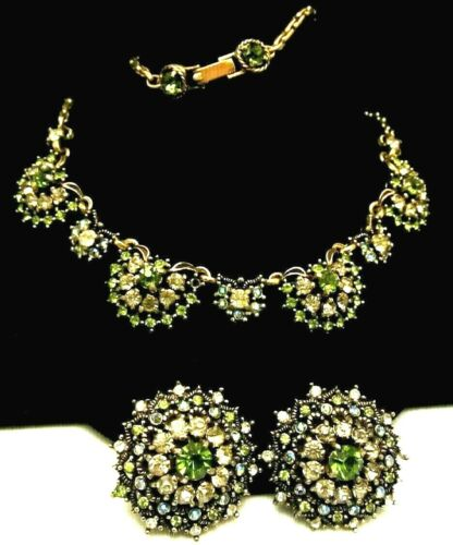 Rare Signed Hollycraft 1950 Gilt Peridot Clear Rhinestone Necklace Earring M3